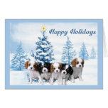 Azul de la tarjeta de Navidad del perro de aguas d