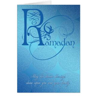 azul de la tarjeta del Ramadán