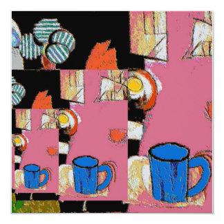 """Azul de la taza de café, estilo de Matisse Invitación 5.25"""" X 5.25"""""""