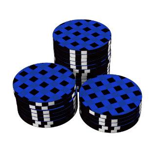 Azul de la tela escocesa 1 fichas de póquer