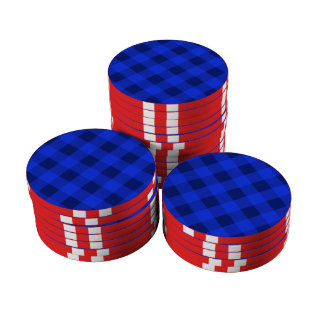 Azul de la tela escocesa 2 juego de fichas de póquer