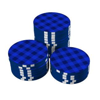 Azul de la tela escocesa 2 fichas de póquer