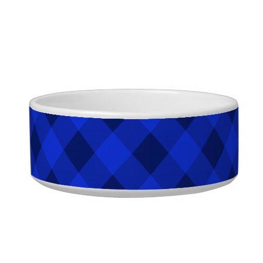 Azul de la tela escocesa 2 tazones para comida para gato