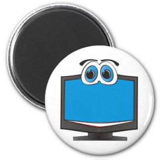 Azul de la televisión del dibujo animado imán redondo 5 cm