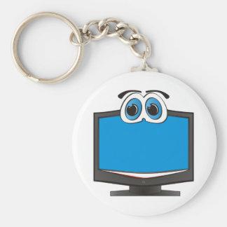 Azul de la televisión del dibujo animado llavero redondo tipo pin