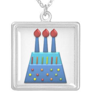 Azul de la torta de cumpleaños del arco iris del f colgante cuadrado
