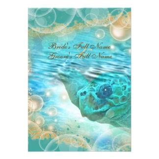 Azul de la tortuga del boda del tema de la playa invitacion personal