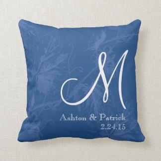 Azul de la vid del vintage personalizado casando cojín