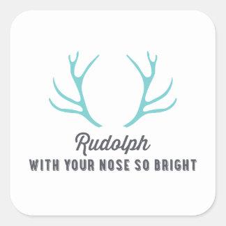 Azul de las astas el   de Rudolph Pegatina Cuadrada