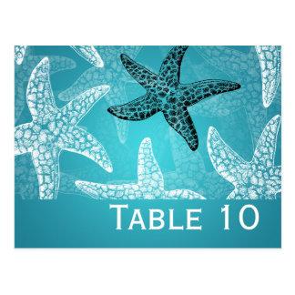 Azul de las estrellas de mar del número de la tabl tarjeta postal