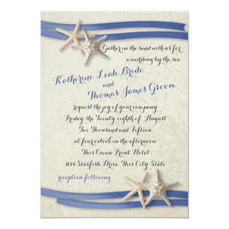 """Azul de las estrellas de mar y de la cinta invitación 5"""" x 7"""""""