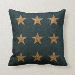 Azul de las estrellas y natural rústicos cojin
