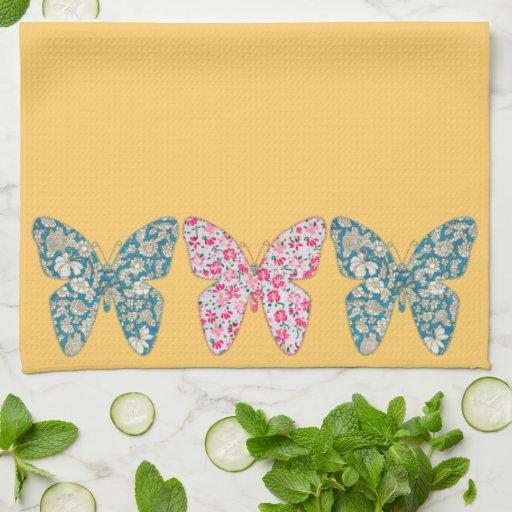 Azul de las mariposas de la tela del Applique y ro Toallas