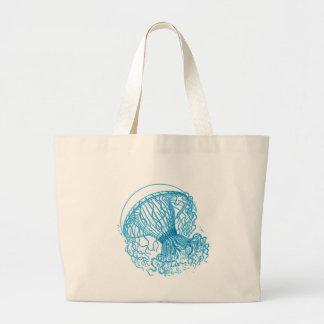 Azul de las medusas bolsa de mano