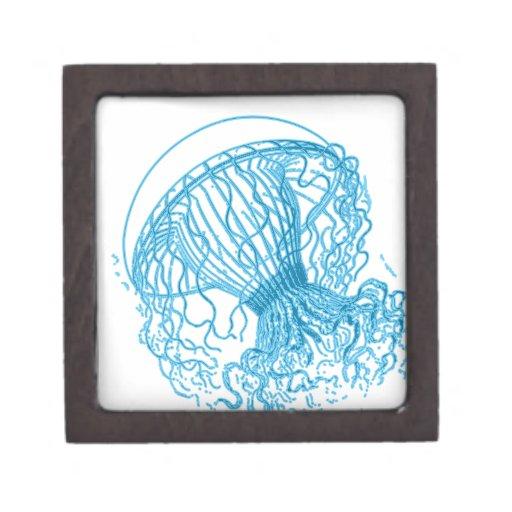 Azul de las medusas caja de recuerdo de calidad