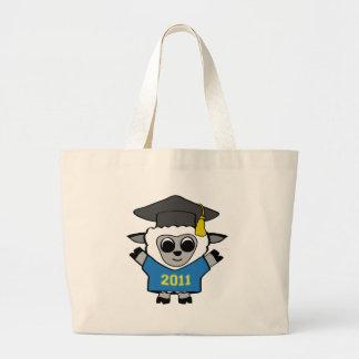 Azul de las ovejas del muchacho y graduado 2011 de bolsa tela grande