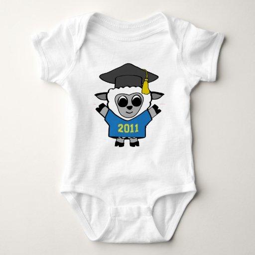 Azul de las ovejas del muchacho y graduado 2011 mameluco de bebé