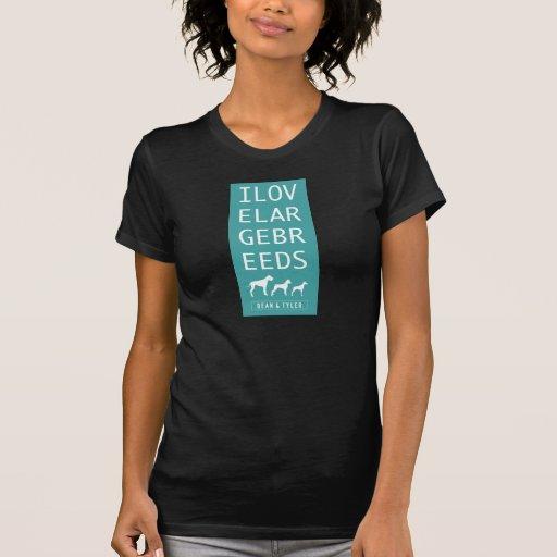 """Azul de las razas grandes de la camiseta """"amo"""""""