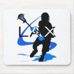 Azul de LAX de los muchachos de LaCrosse Alfombrillas De Ratón