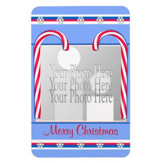 Azul de los bastones de caramelo del navidad (marc imán rectangular