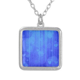 Azul de los corazones de Bokeh 04 (i) Colgante