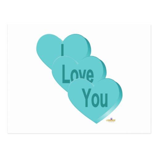 Azul de los corazones del caramelo te amo tarjeta postal