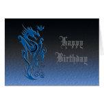 Azul de los dragones y del palo felicitaciones