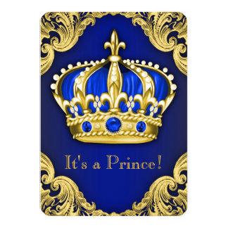 Azul de lujo del príncipe fiesta de bienvenida al invitación 11,4 x 15,8 cm