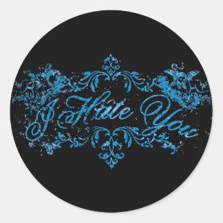 Azul de lujo le odio etiquetas redondas