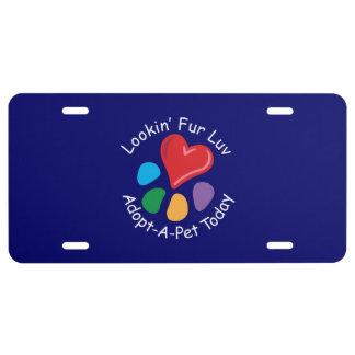 Azul de Luv_on de la piel de Adoption_Heart-Paw_Lo Placa De Matrícula