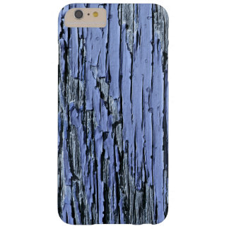 Azul de madera de la pintura de la peladura funda de iPhone 6 plus barely there