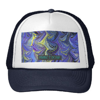 Azul de mármol del T-Diseño Gorros Bordados