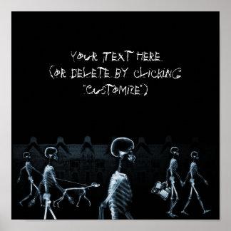 Azul de medianoche del negro del paseo de los esqu poster