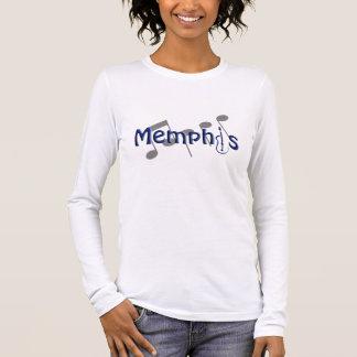 azul de Memphis con las notas de la música Playera De Manga Larga