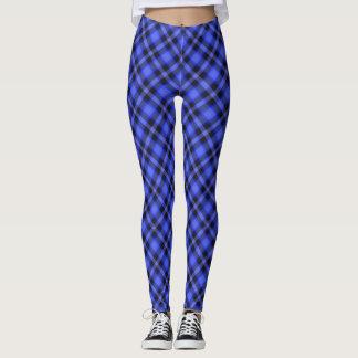 Azul de moda en la tela escocesa azul leggings