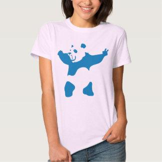 Azul de neón de la panda poleras