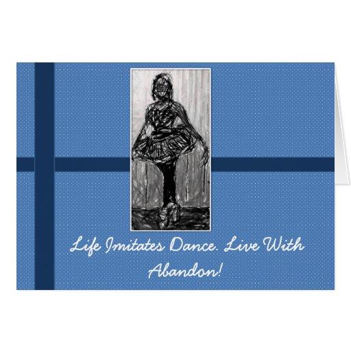 Azul de Notecard de la bailarina Tarjeta Pequeña