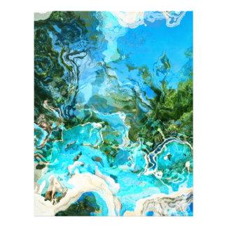 Azul de océano abstracto de la turquesa y verde de membrete personalizado