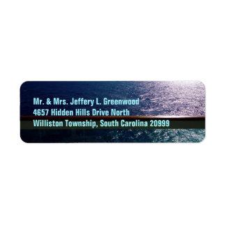 Azul de océano etiqueta de remitente