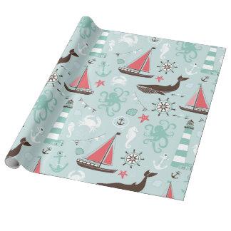 Azul de océano náutico y subió papel de regalo