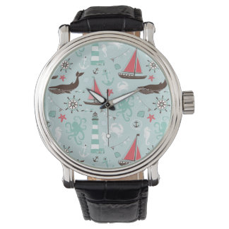 Azul de océano náutico y subió relojes de mano