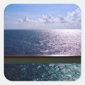 Azul de océano pegatina cuadrada