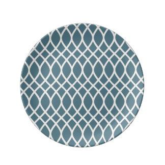 Azul de océano profundo blanco de la arena plato de cerámica