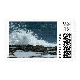 Azul de océano timbre postal
