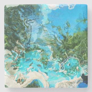 Azul de océano tropical de la turquesa y verde de posavasos de piedra