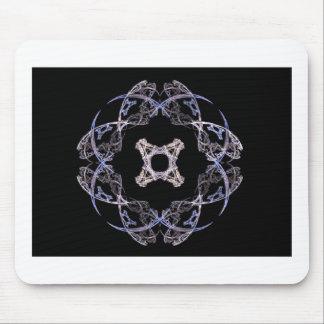 Azul de ocho pétalos y diseño del arte del fractal tapetes de raton