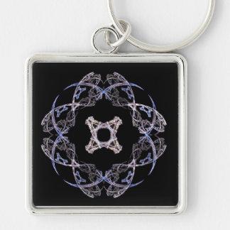 Azul de ocho pétalos y llavero del arte del fracta