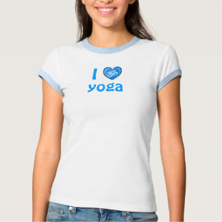 Azul de OM del corazón del amor de la yoga Playera