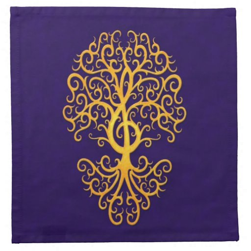 Azul de oro del árbol musical del Clef agudo Servilletas De Papel