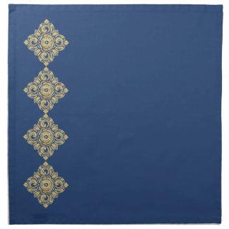 Azul de oro del damasco del diamante servilletas
